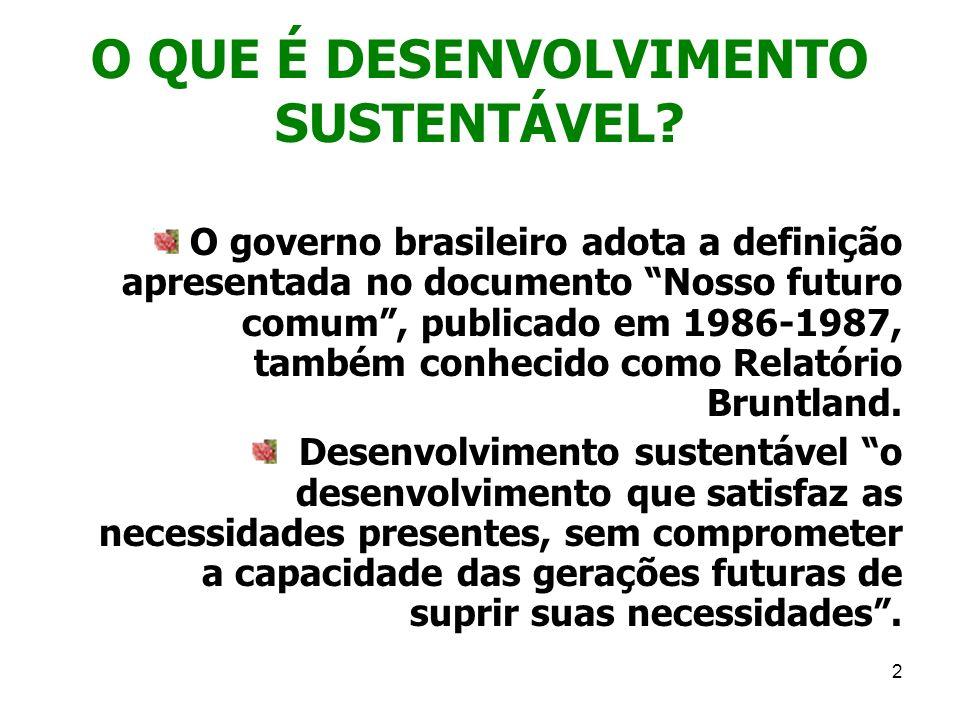 2 O QUE É DESENVOLVIMENTO SUSTENTÁVEL? O governo brasileiro adota a definição apresentada no documento Nosso futuro comum, publicado em 1986-1987, tam