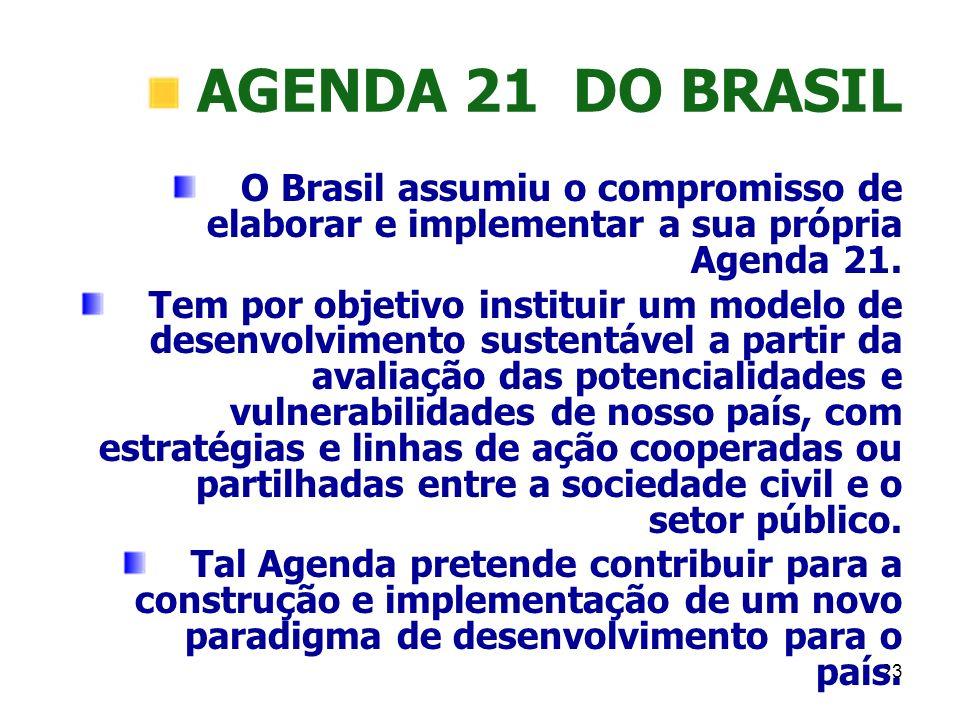 23 AGENDA 21 DO BRASIL O Brasil assumiu o compromisso de elaborar e implementar a sua própria Agenda 21. Tem por objetivo instituir um modelo de desen