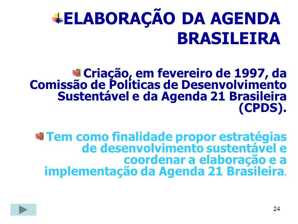 24 ELABORAÇÃO DA AGENDA BRASILEIRA Criação, em fevereiro de 1997, da Comissão de Políticas de Desenvolvimento Sustentável e da Agenda 21 Brasileira (C