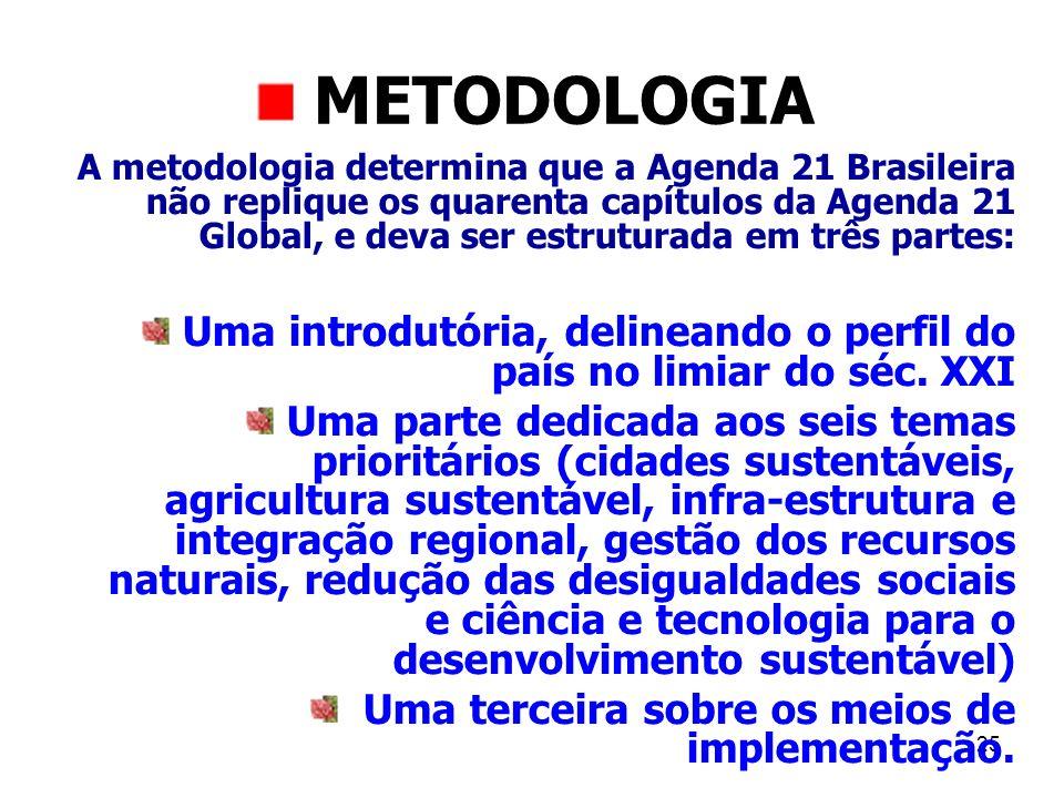 25 METODOLOGIA A metodologia determina que a Agenda 21 Brasileira não replique os quarenta capítulos da Agenda 21 Global, e deva ser estruturada em tr
