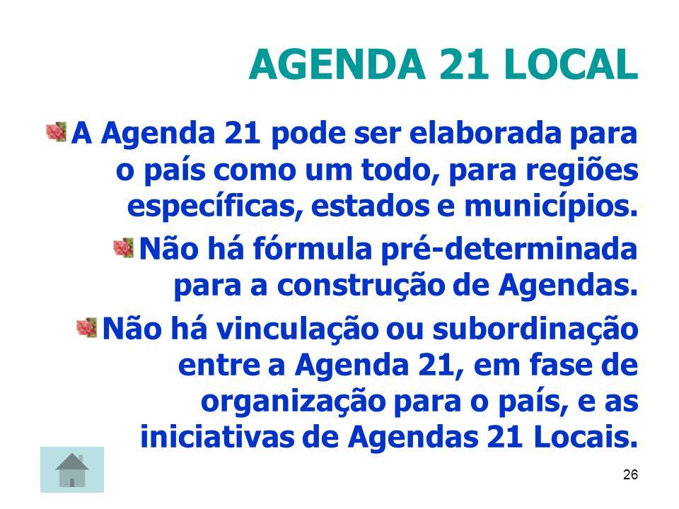 26 AGENDA 21 LOCAL A Agenda 21 pode ser elaborada para o país como um todo, para regiões específicas, estados e municípios. Não há fórmula pré-determi
