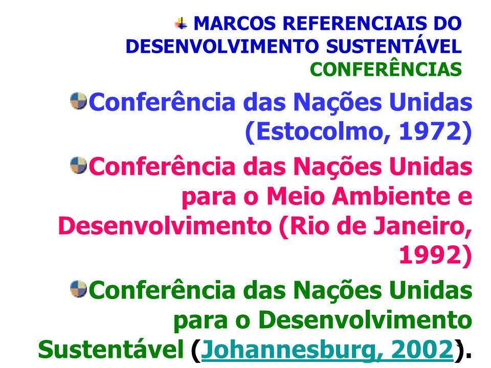 3 MARCOS REFERENCIAIS DO DESENVOLVIMENTO SUSTENTÁVEL CONFERÊNCIAS Conferência das Nações Unidas (Estocolmo, 1972) Conferência das Nações Unidas para o