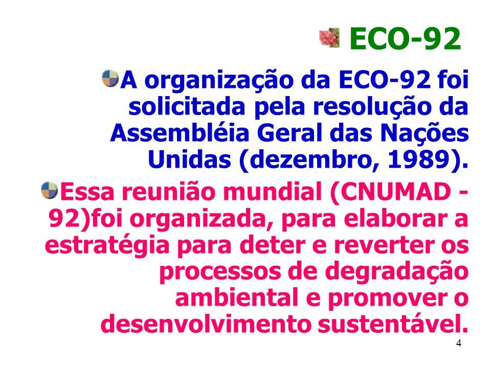4 ECO-92 A organização da ECO-92 foi solicitada pela resolução da Assembléia Geral das Nações Unidas (dezembro, 1989). Essa reunião mundial (CNUMAD -