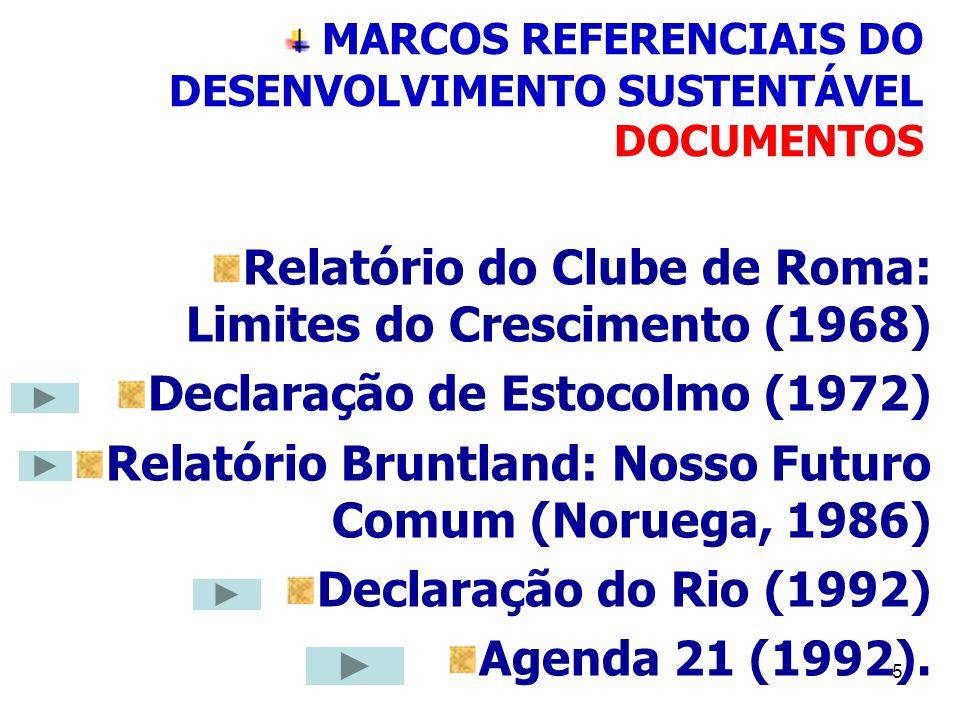 5 MARCOS REFERENCIAIS DO DESENVOLVIMENTO SUSTENTÁVEL DOCUMENTOS Relatório do Clube de Roma: Limites do Crescimento (1968) Declaração de Estocolmo (197