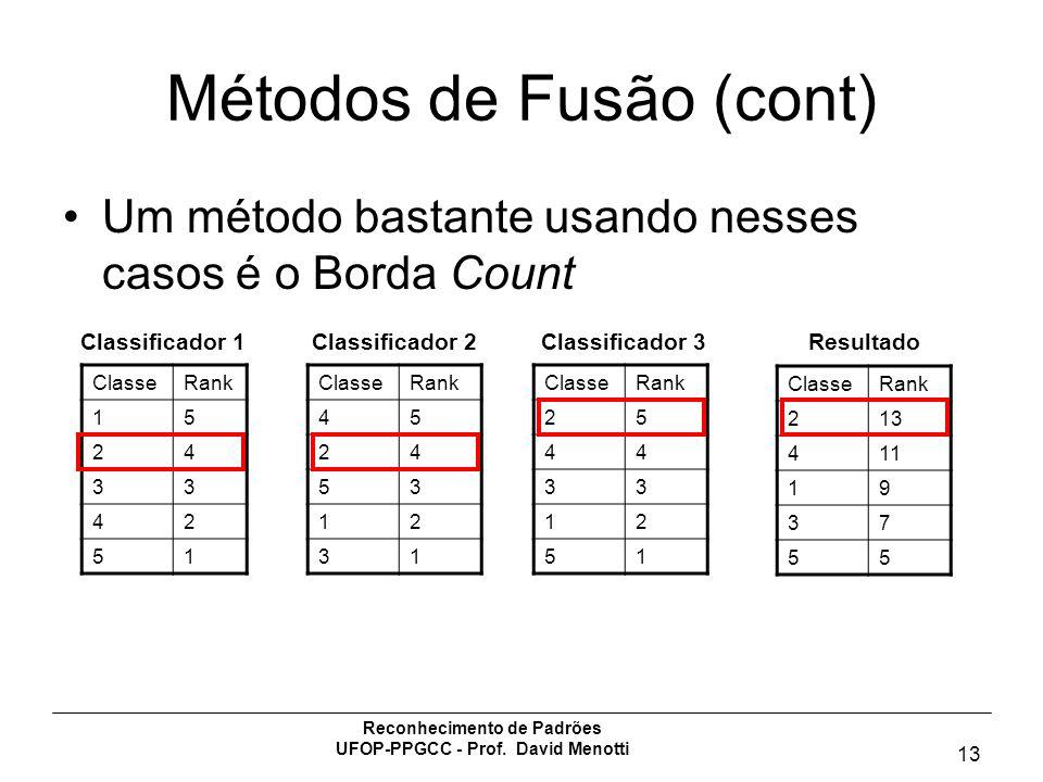 Reconhecimento de Padrões UFOP-PPGCC - Prof. David Menotti 13 Métodos de Fusão (cont) Um método bastante usando nesses casos é o Borda Count ClasseRan