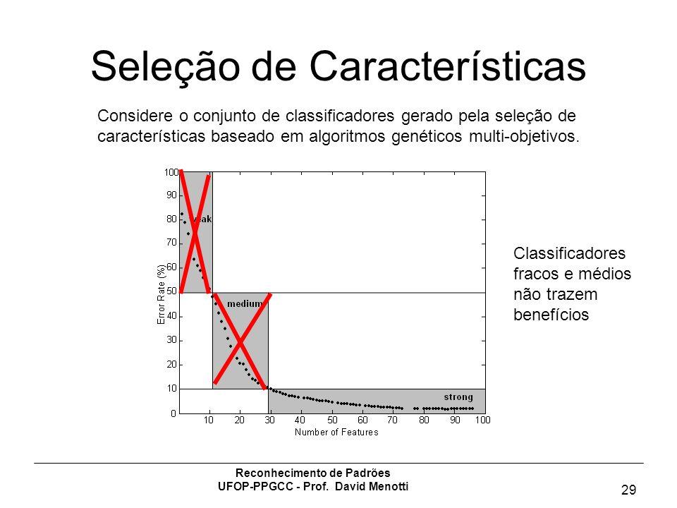 Reconhecimento de Padrões UFOP-PPGCC - Prof. David Menotti 29 Seleção de Características Considere o conjunto de classificadores gerado pela seleção d