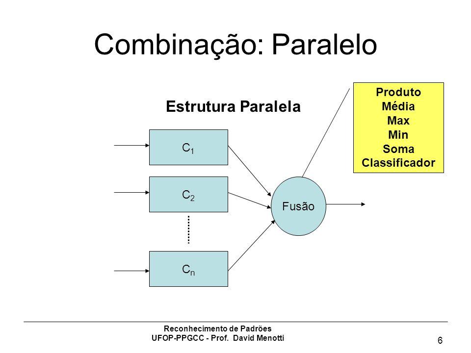 Reconhecimento de Padrões UFOP-PPGCC - Prof. David Menotti 6 Combinação: Paralelo C1C1 C2C2 CnCn Fusão Estrutura Paralela Produto Média Max Min Soma C