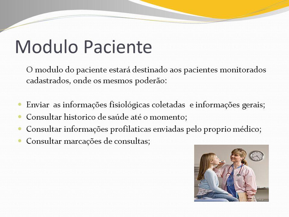 Modulo Paciente O modulo do paciente estará destinado aos pacientes monitorados cadastrados, onde os mesmos poderão: Enviar as informações fisiológica
