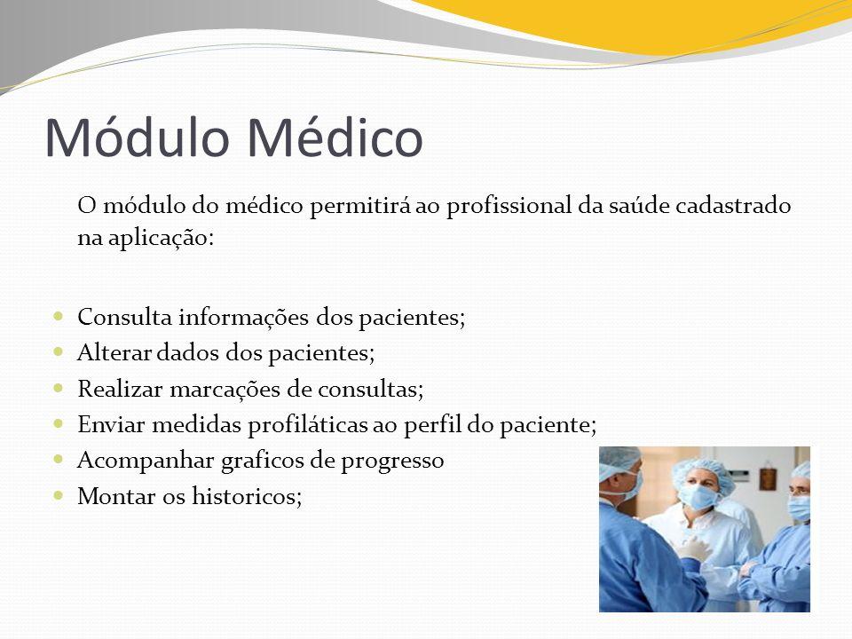 Módulo Médico O módulo do médico permitirá ao profissional da saúde cadastrado na aplicação: Consulta informações dos pacientes; Alterar dados dos pac