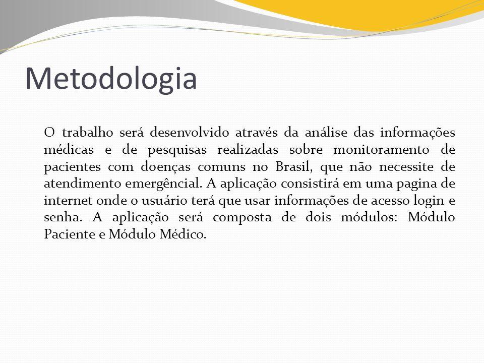 Metodologia O trabalho será desenvolvido através da análise das informações médicas e de pesquisas realizadas sobre monitoramento de pacientes com doe