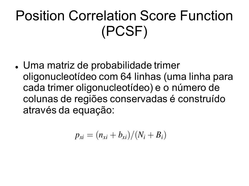 Uma matriz de probabilidade trimer oligonucleotídeo com 64 linhas (uma linha para cada trimer oligonucleotídeo) e o número de colunas de regiões conservadas é construído através da equação: Position Correlation Score Function (PCSF)