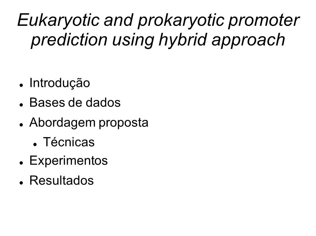 Eukaryotic and prokaryotic promoter prediction using hybrid approach Introdução Bases de dados Abordagem proposta Técnicas Experimentos Resultados