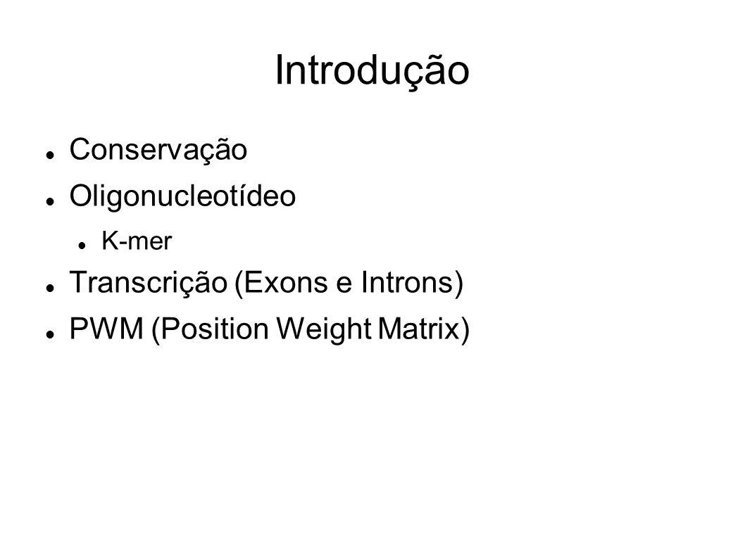 Introdução Conservação Oligonucleotídeo K-mer Transcrição (Exons e Introns) PWM (Position Weight Matrix)