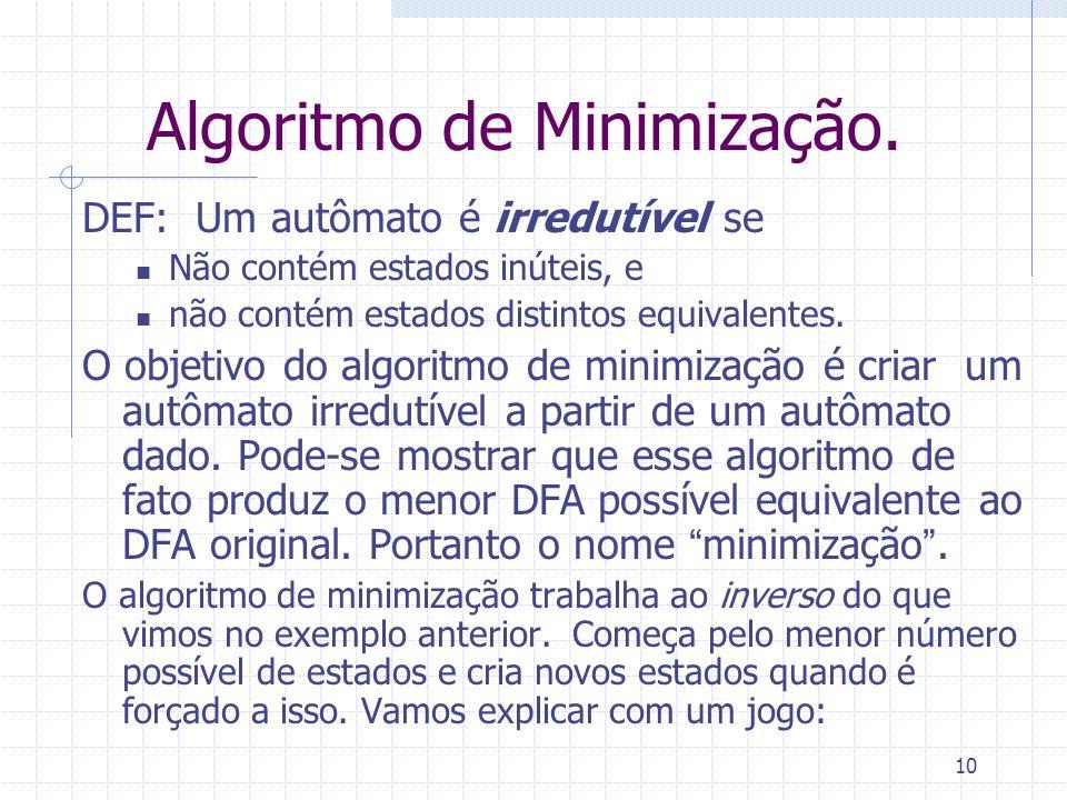 10 Algoritmo de Minimização. DEF: Um autômato é irredutível se Não contém estados inúteis, e não contém estados distintos equivalentes. O objetivo do