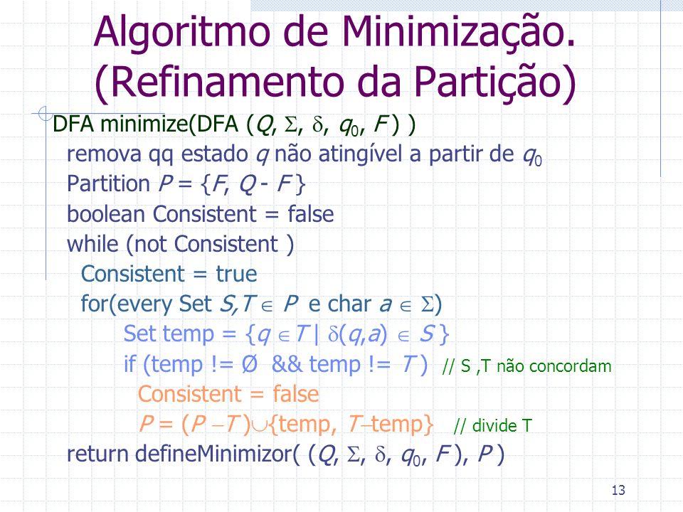 13 Algoritmo de Minimização. (Refinamento da Partição) DFA minimize(DFA (Q,,, q 0, F ) ) remova qq estado q não atingível a partir de q 0 Partition P