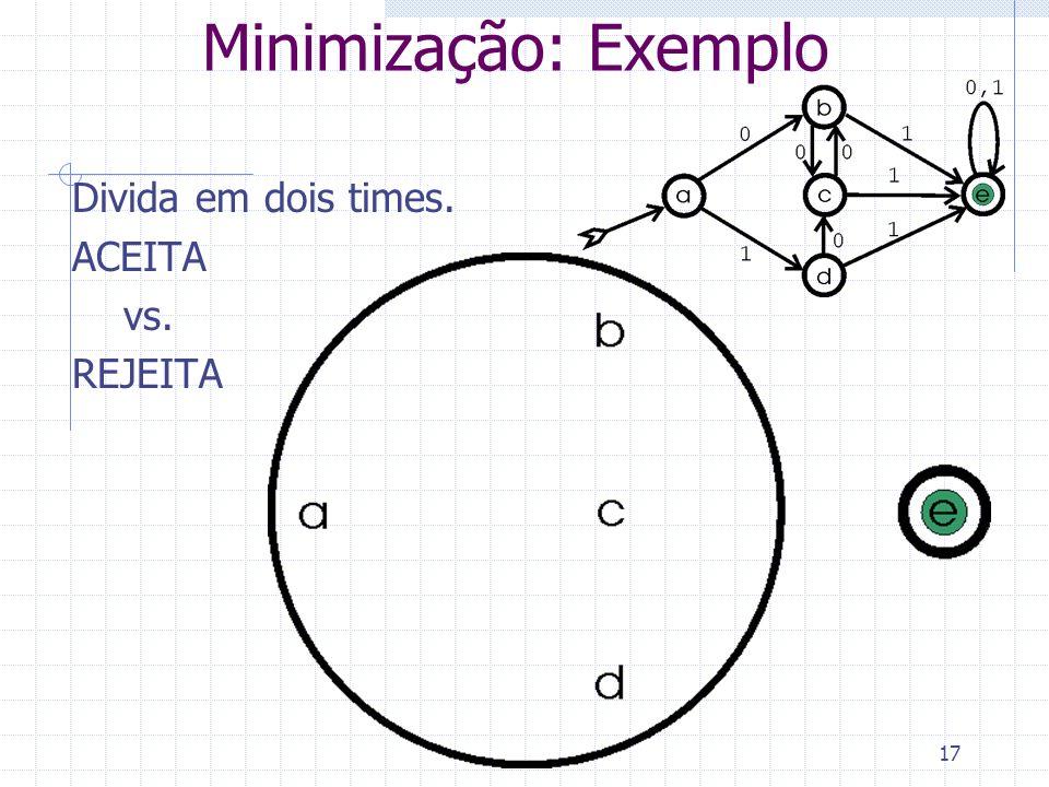 17 Minimização: Exemplo Divida em dois times. ACEITA vs. REJEITA