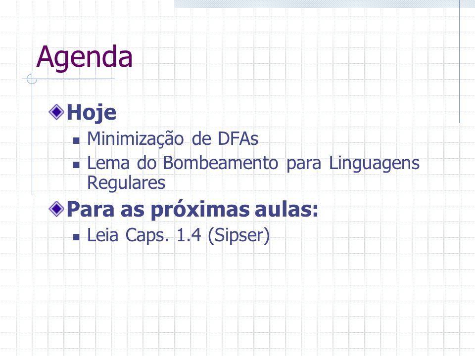 Agenda Hoje Minimização de DFAs Lema do Bombeamento para Linguagens Regulares Para as próximas aulas: Leia Caps. 1.4 (Sipser)