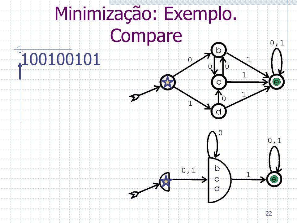 22 Minimização: Exemplo. Compare 100100101