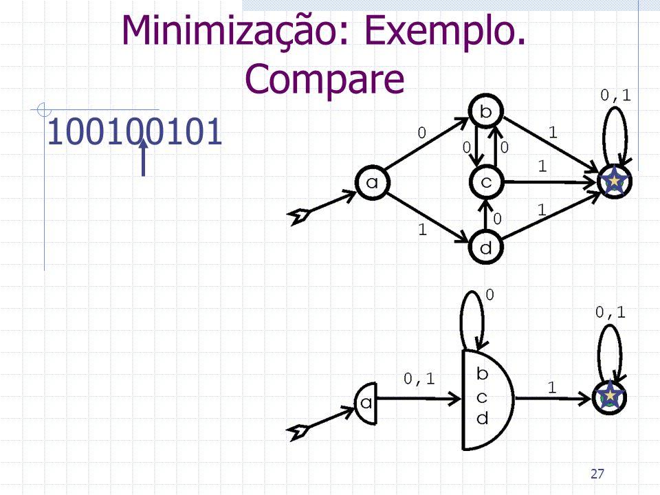 27 Minimização: Exemplo. Compare 100100101