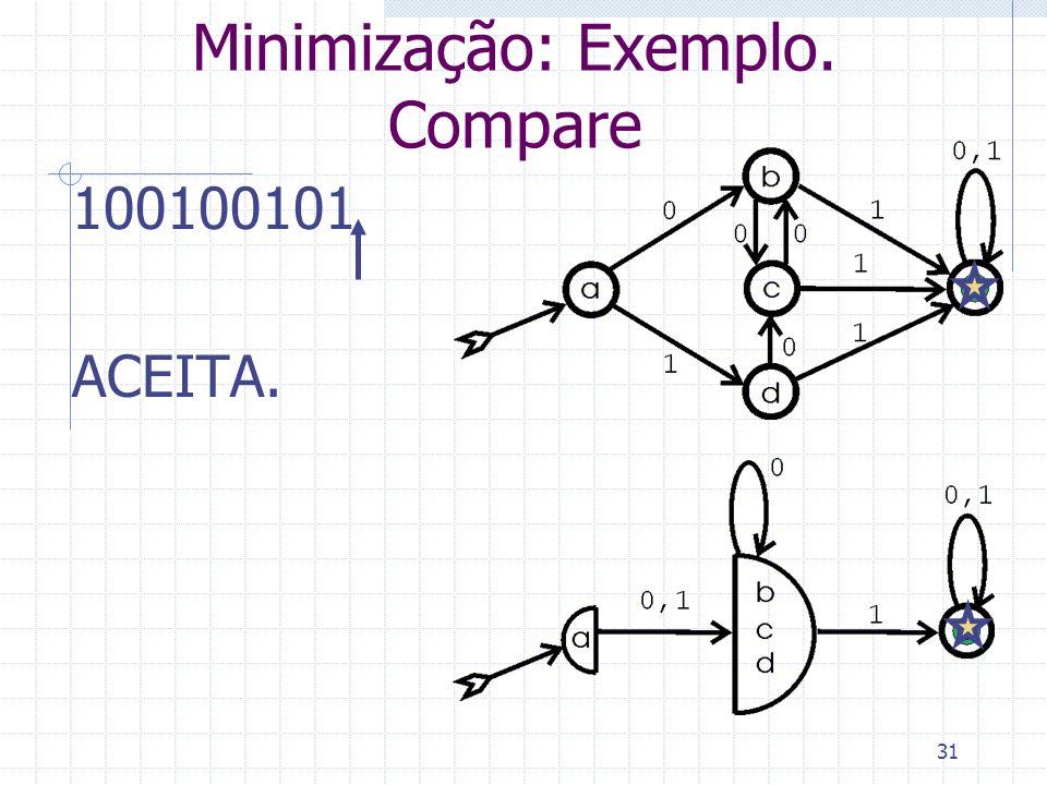 31 Minimização: Exemplo. Compare 100100101 ACEITA.