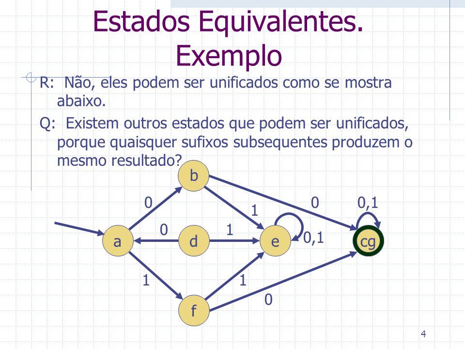 4 Estados Equivalentes. Exemplo R: Não, eles podem ser unificados como se mostra abaixo. Q: Existem outros estados que podem ser unificados, porque qu