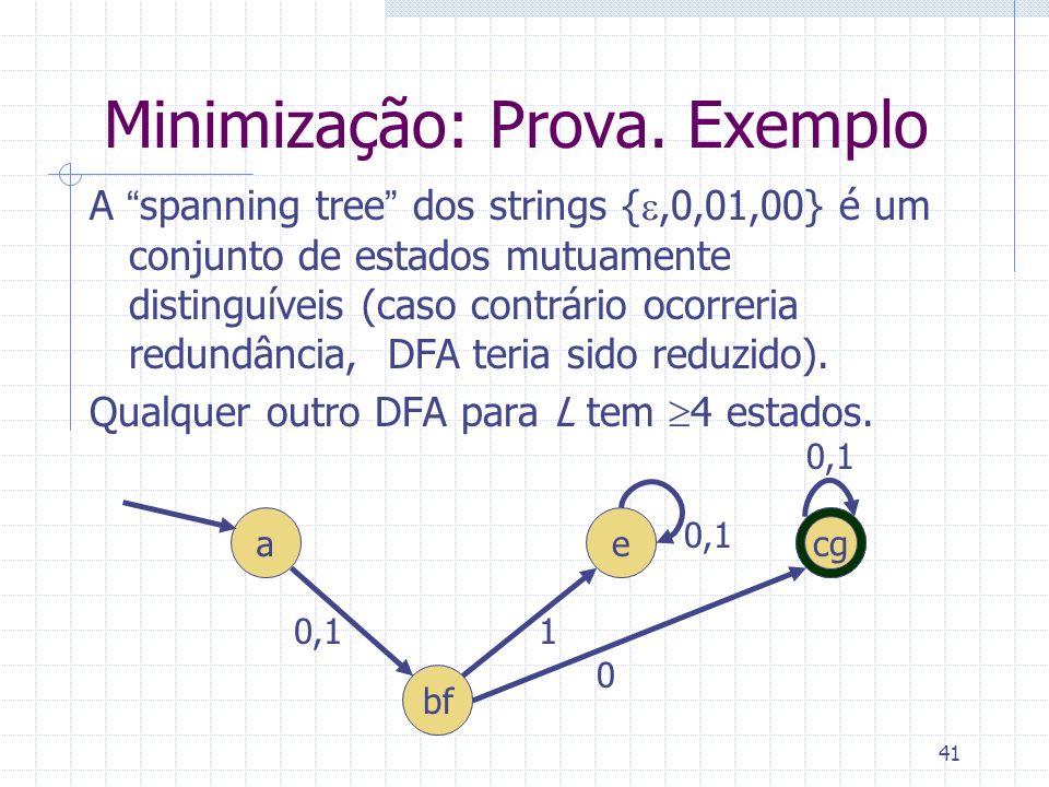 41 Minimização: Prova. Exemplo A spanning tree dos strings {,0,01,00} é um conjunto de estados mutuamente distinguíveis (caso contrário ocorreria redu