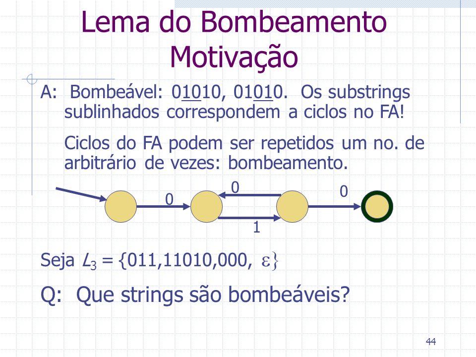 44 Lema do Bombeamento Motivação 0 0 1 0 A: Bombeável: 01010, 01010. Os substrings sublinhados correspondem a ciclos no FA! Ciclos do FA podem ser rep