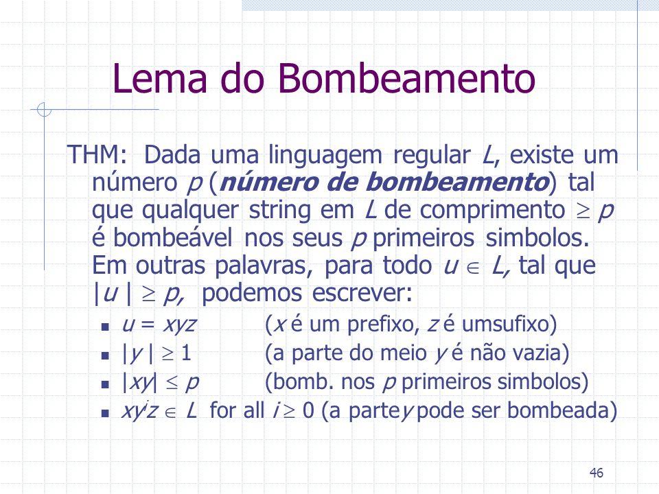 46 Lema do Bombeamento THM: Dada uma linguagem regular L, existe um número p (número de bombeamento) tal que qualquer string em L de comprimento p é b
