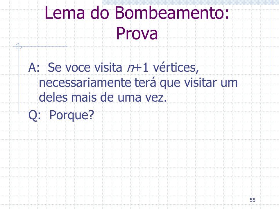 55 Lema do Bombeamento: Prova A: Se voce visita n+1 vértices, necessariamente terá que visitar um deles mais de uma vez. Q: Porque?