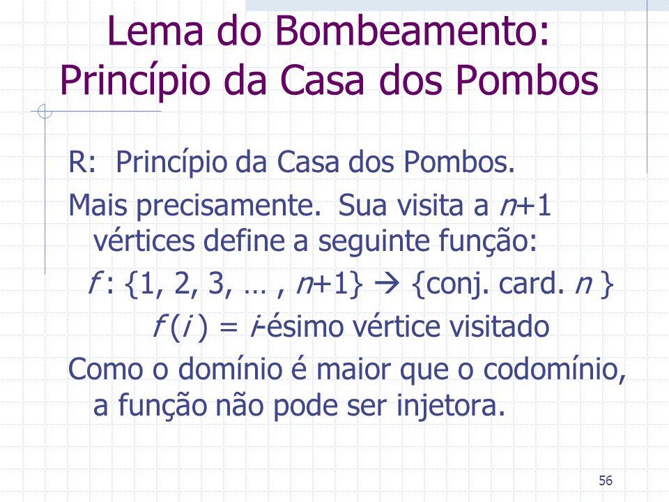 56 Lema do Bombeamento: Princípio da Casa dos Pombos R: Princípio da Casa dos Pombos. Mais precisamente. Sua visita a n+1 vértices define a seguinte f