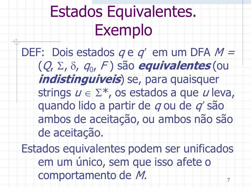7 Estados Equivalentes. Exemplo DEF: Dois estados q e q em um DFA M = (Q,,, q 0, F ) são equivalentes (ou indistinguiveis) se, para quaisquer strings