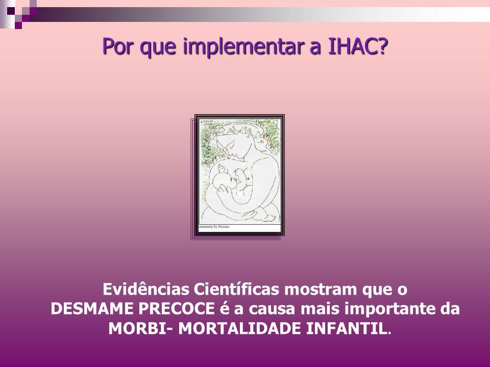Por que implementar a IHAC? Evidências Científicas mostram que o DESMAME PRECOCE é a causa mais importante da MORBI- MORTALIDADE INFANTIL.