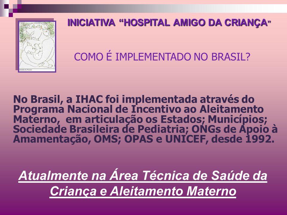 No Brasil, a IHAC foi implementada através do Programa Nacional de Incentivo ao Aleitamento Materno, em articulação os Estados; Municípios; Sociedade