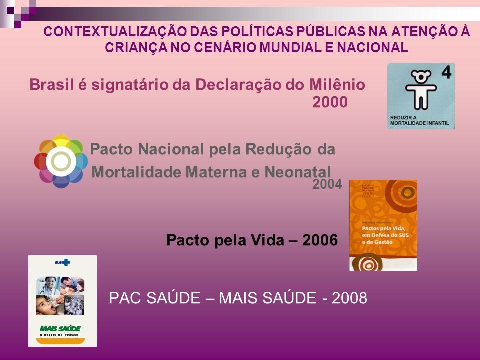 CONTEXTUALIZAÇÃO DAS POLÍTICAS PÚBLICAS NA ATENÇÃO À CRIANÇA NO CENÁRIO MUNDIAL E NACIONAL Brasil é signatário da Declaração do Milênio 2000 Pacto Nac