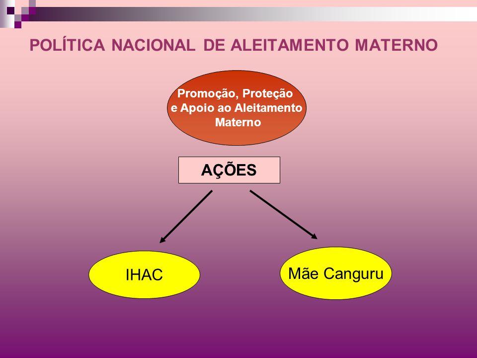 POLÍTICA NACIONAL DE ALEITAMENTO MATERNO AÇÕES IHAC Mãe Canguru Promoção, Proteção e Apoio ao Aleitamento Materno