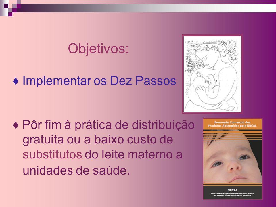 Objetivos: Implementar os Dez Passos Pôr fim à prática de distribuição gratuita ou a baixo custo de substitutos do leite materno a unidades de saúde.
