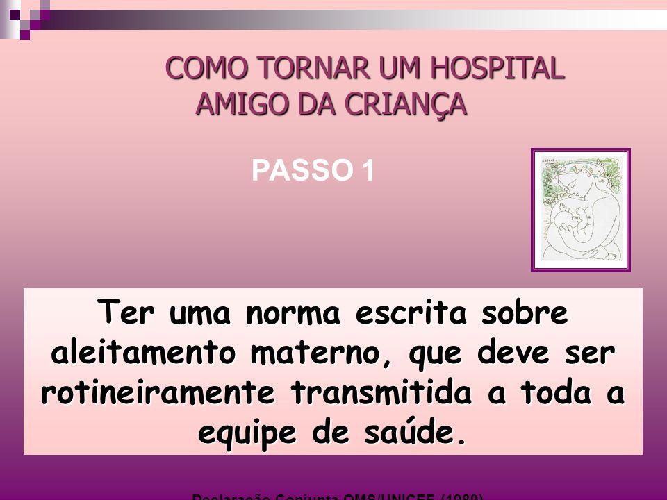 No Brasil, a IHAC foi implementada através do Programa Nacional de Incentivo ao Aleitamento Materno, em articulação os Estados; Municípios; Sociedade Brasileira de Pediatria; ONGs de Apoio à Amamentação, OMS; OPAS e UNICEF, desde 1992.