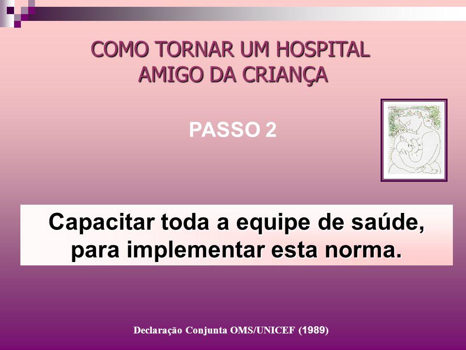 Capacitar toda a equipe de saúde, para implementar esta norma. COMO TORNAR UM HOSPITAL AMIGO DA CRIANÇA PASSO 2 Declaração Conjunta OMS/UNICEF ( 1989