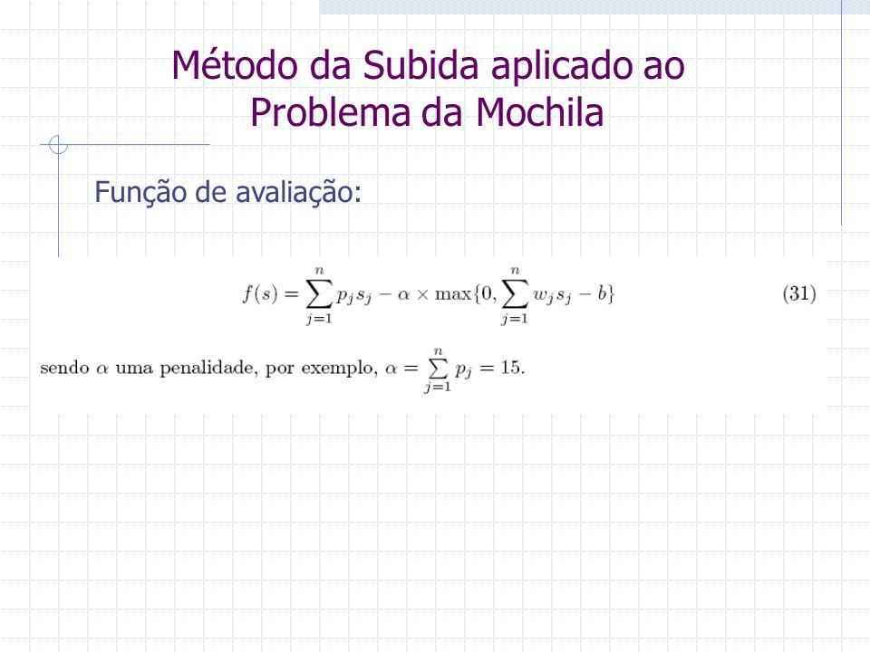 Método da Subida aplicado ao Problema da Mochila Função de avaliação:
