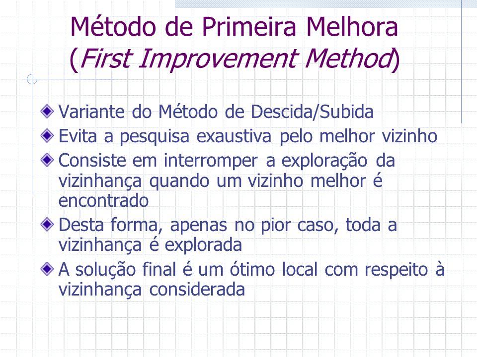 Método de Primeira Melhora (First Improvement Method) Variante do Método de Descida/Subida Evita a pesquisa exaustiva pelo melhor vizinho Consiste em