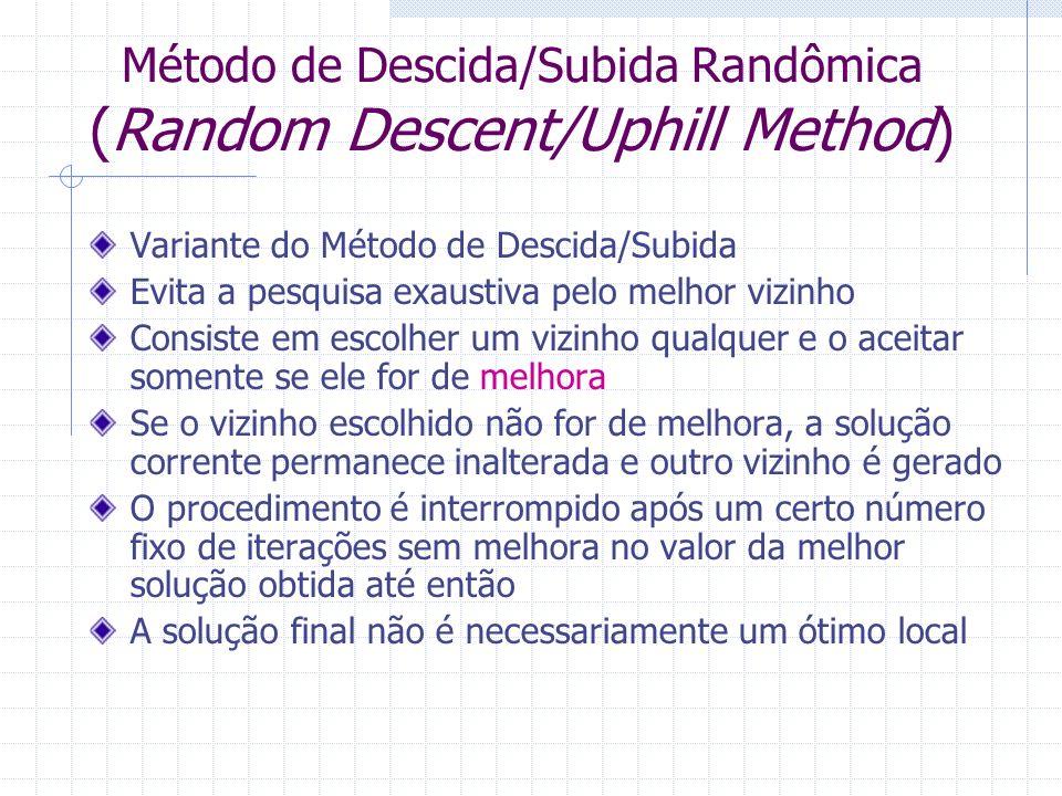 Método de Descida/Subida Randômica (Random Descent/Uphill Method) Variante do Método de Descida/Subida Evita a pesquisa exaustiva pelo melhor vizinho