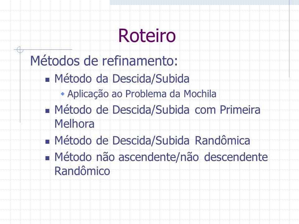 Roteiro Métodos de refinamento: Método da Descida/Subida Aplicação ao Problema da Mochila Método de Descida/Subida com Primeira Melhora Método de Desc