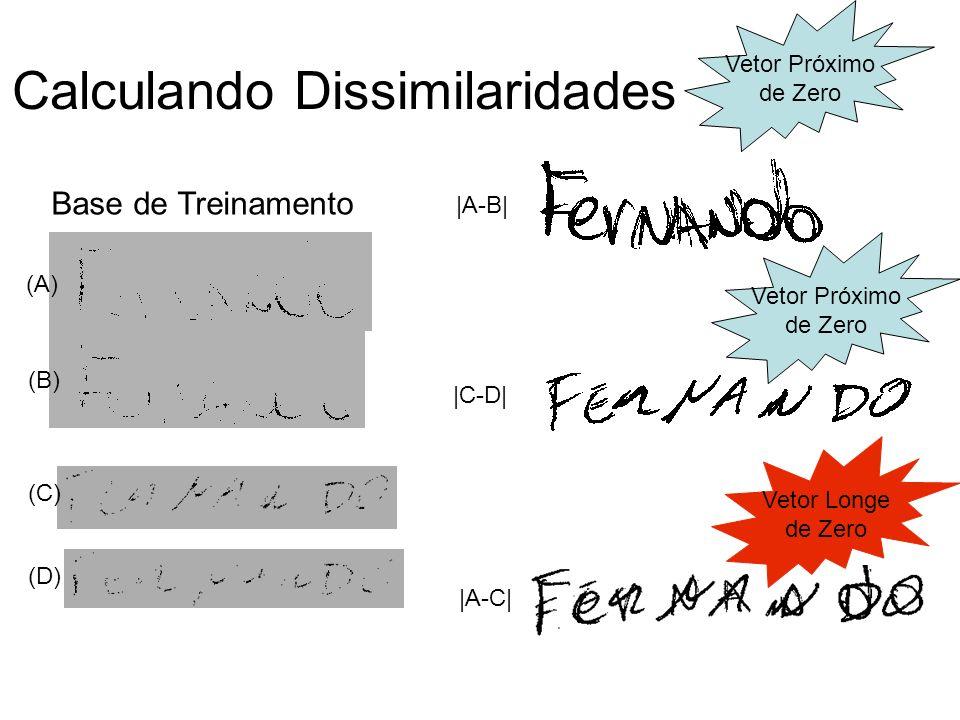 (A) (B) (C) (D)  A-B   C-D   A-C  Base de Treinamento Vetor Próximo de Zero Vetor Próximo de Zero Vetor Longe de Zero Calculando Dissimilaridades