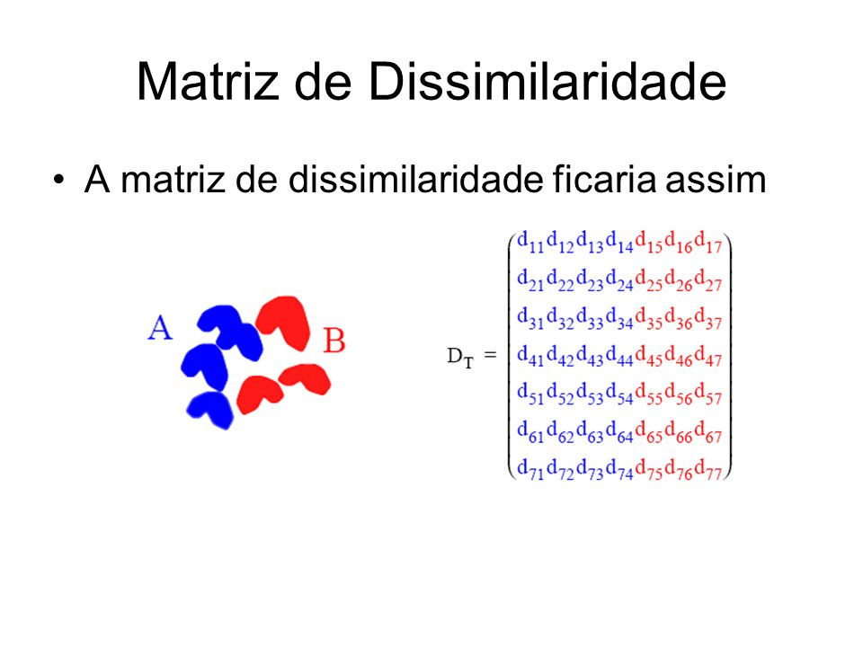 Matriz de Dissimilaridade A matriz de dissimilaridade ficaria assim