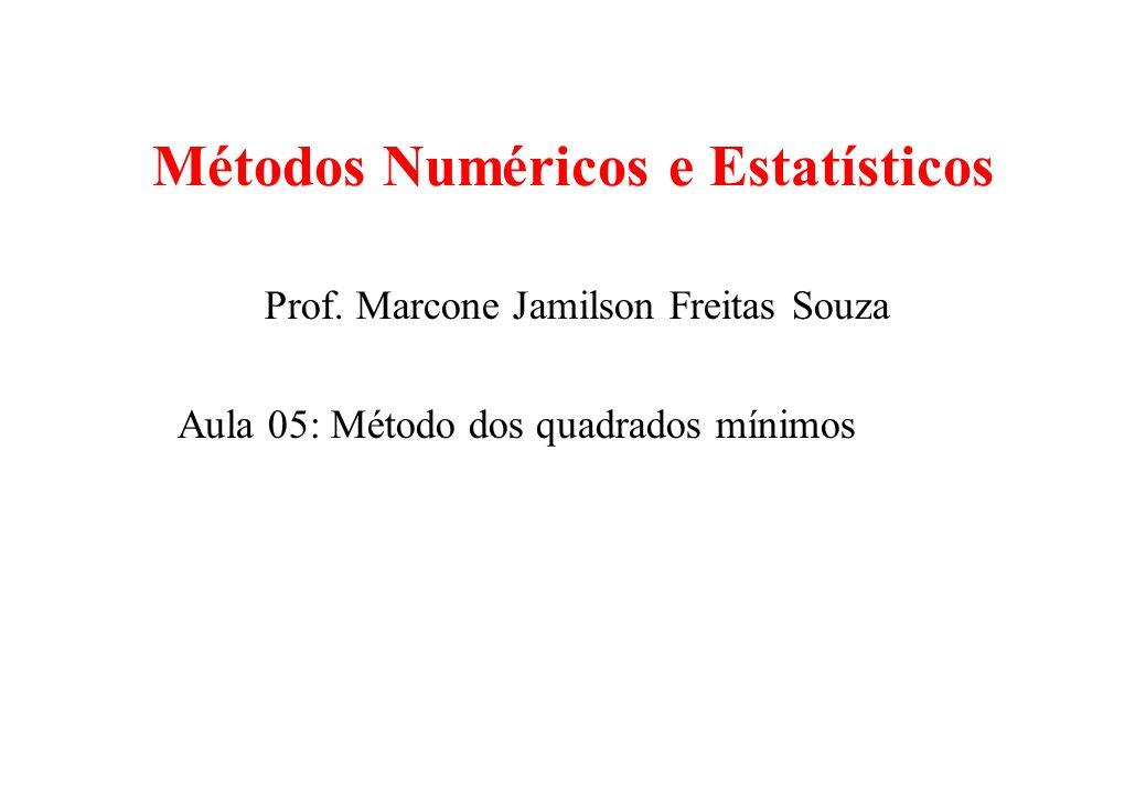 Método dos mínimos quadrados Neste caso, não se trata de interpolação, mas de ajustar uma função previamente escolhida a um conjunto de pontos.