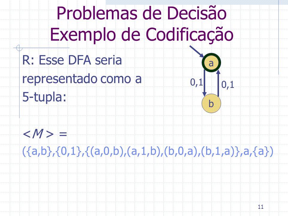 11 Problemas de Decisão Exemplo de Codificação R: Esse DFA seria representado como a 5-tupla: = ({a,b},{0,1},{(a,0,b),(a,1,b),(b,0,a),(b,1,a)},a,{a})