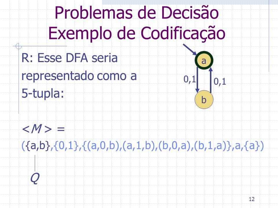 12 Problemas de Decisão Exemplo de Codificação R: Esse DFA seria representado como a 5-tupla: = ({a,b},{0,1},{(a,0,b),(a,1,b),(b,0,a),(b,1,a)},a,{a})