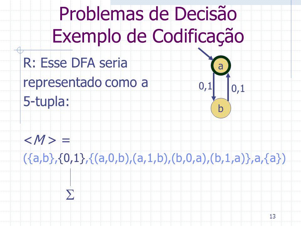 13 Problemas de Decisão Exemplo de Codificação R: Esse DFA seria representado como a 5-tupla: = ({a,b},{0,1},{(a,0,b),(a,1,b),(b,0,a),(b,1,a)},a,{a})