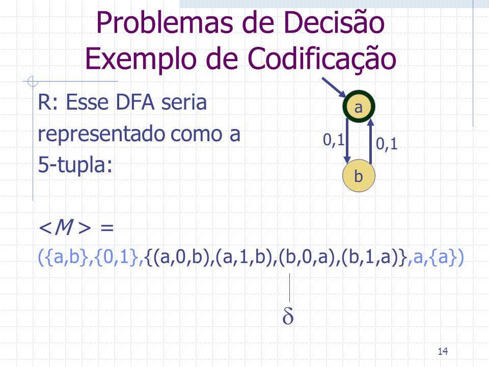 14 Problemas de Decisão Exemplo de Codificação R: Esse DFA seria representado como a 5-tupla: = ({a,b},{0,1},{(a,0,b),(a,1,b),(b,0,a),(b,1,a)},a,{a})