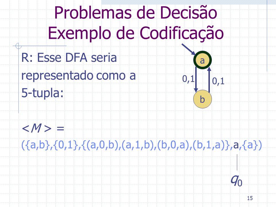 15 Problemas de Decisão Exemplo de Codificação R: Esse DFA seria representado como a 5-tupla: = ({a,b},{0,1},{(a,0,b),(a,1,b),(b,0,a),(b,1,a)},a,{a})